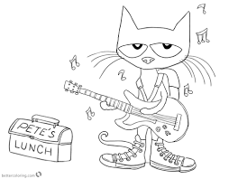 Pete The Cat Coloring Pages Play Guitar For Lunch Free Printable
