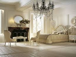 prestigious bedroom on white wooden floor installed at vintage room decor which is decorated with crystal