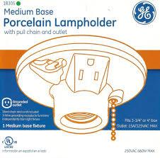 porcelain lampholder um base light bulb fixture pull chain ge 18305