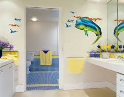 attractive blue shark and fish wall art design idea in brightly white kids bathroom combined with blue square ceramics powder room and brightly white  on fish wall art for bathroom with bathroom attractive blue shark and fish wall art design idea in