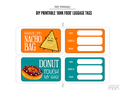 Printable Luggage Tags Diy Printable Junk Food Luggage Tags