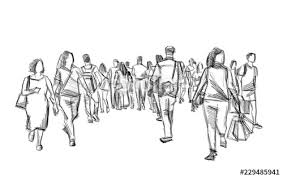 Crowd Of People Walking Illustration Pencil Sketch Isolated Stock