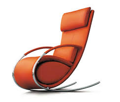 futuristic office chairs. cute stylish office furniture featuring orange padded fabric futuristic rocking chair and grey chrome base chairs