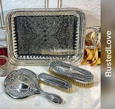 dresser set hand mirror hair brush