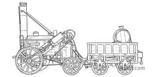 George Stephensons Rocket Steam Engine 1829 History KS3 KS4 Black and White