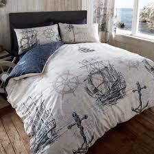 vintage ocean voyage duvet cover reversible nautical bedding set