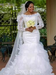 Ericdress Modest Bateau Appliques Mermaid Wedding Dress With