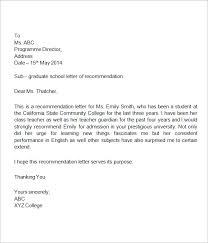Letter Re mendation For High School Student