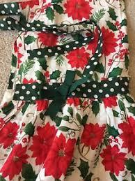 Poinsettia Designs Details About Unused Tag Vintage Christmas Bib Full Apron Kay Dee Designs Poinsettia Polka Dot