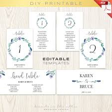 Floral Wedding Table Numbers Printable Template Seating