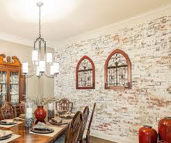 dining rooms with white brick walls