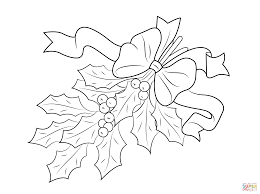 Small Picture Christmas Holly with Bow coloring page Free Printable Coloring Pages