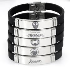 chinese new style black spider bracelets adjule snless steel silicone venom bangles bracelets female and male