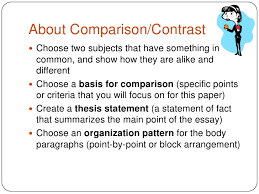 Comparison And Contrast Essays Examples Compare And Contrast Thesis Statements How To Write A