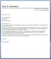 Housekeeper Cover Letter Sample Creative Resume Design Templates