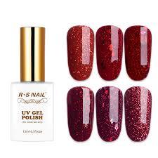 <b>RS Nail 15ml uv</b> color gel nail polish red glitter series sparkles gel ...
