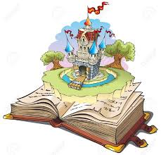magic world of tales fairy castle appearing from the old book cartoon ilration stock