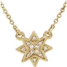 yellow gold diamond star pendant