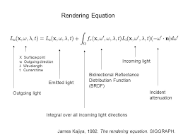 rendering equation outgoing light emitted light bidirectional reflectance distribution function brdf incoming light incident