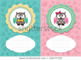 Babygirl Cards Babyboy Babygirl Cards Cute Owlets Some Stock Image