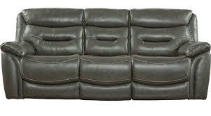 bennato gray leather power reclining sofa