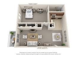 1 Bedroom, 1 Bath (Balcony) Floor Plan 2