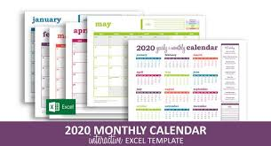 Printable Event Calendar Deluxe Event Calendar 2020 Excel Template Printable Monthly Calendar Color Coded Events Instant Digital Download