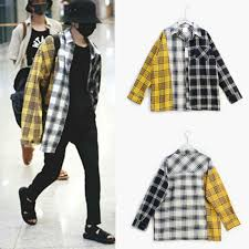 <b>kpop EXO GOT7 jin</b> suga same Korean spell color plaid shirt shirt ...