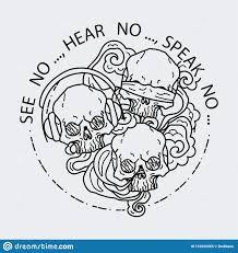 состав 3 черепов иллюстрация вектора черепа черно белой татуировки