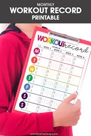Workout Record Fitness Tracker Free Printable Included
