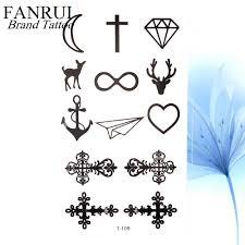маленькие черные крест христа водонепроницаемый татуировка призрак якорь для
