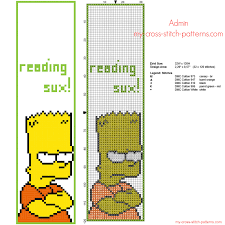 Funny Cross Stitch Patterns Free Fascinating Funny Cross Stitch Bookmark With Bart Simpson Free Download Size 48