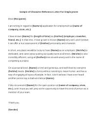 Character Reference Letter For Immigration Template Sample