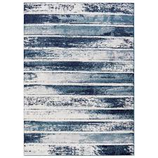 jasmin collection stripes design ivory and navy 5 ft x 7 ft area rug