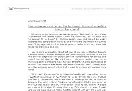 comparative essay love and loss gcse english marked by  document image preview