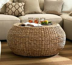 woven side table coffee table round wicker coffee table ottoman the why furniture design ideas woven