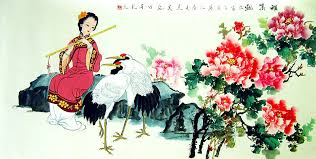chinese flower paintings peony cranes and beauty