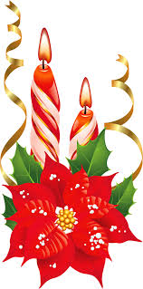 Red and White Christmas Candles with Poinsettia PNG Picture ...
