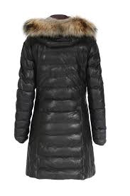 leather coat demi with fur trim black