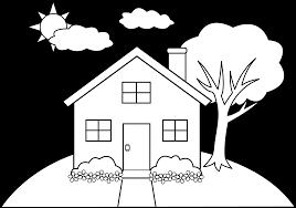 Line Art Of A Little Hill House Free Clip Art Coloring Page House