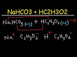 NaHCO3 + HC2H3O2 - sodium bicarbonate (baking soda) and vinegar (acetic  acid) - YouTube