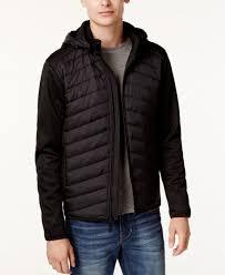 130 point zero men s black hooded packable full zip jacket er winter coat s