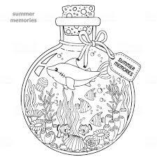 大人のための塗り絵夏の思い出にガラス容器海の生き物 サメ熱帯魚ネモ魚