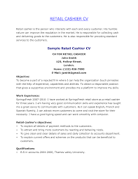 Cashier Resume Objective Facile Picture Fascinating Sample