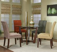 round dining table and micro suede chairs