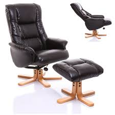 formidable leather tub chair with footstool black recliner red ren ottoman