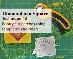 Sparkly Diamond in a Square Quilt Block, multiple sizes & Diamond in a Square tutorial for Technique #3 rotary cutting Adamdwight.com