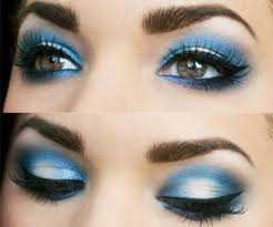 navy blue smokey eye makeup with silver by