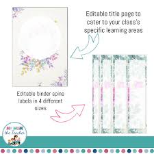 Binder Cover Page Editable Teacher Binder Covers Floral Design