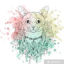 Fototapeta Vinylová černá A Bílá Zvířecí Kočka Hlava Akvarel Abstraktní Umění Tetování Kresba Doodle